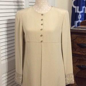 Taupe/ tan business dinner dress. Silk, sz. 6